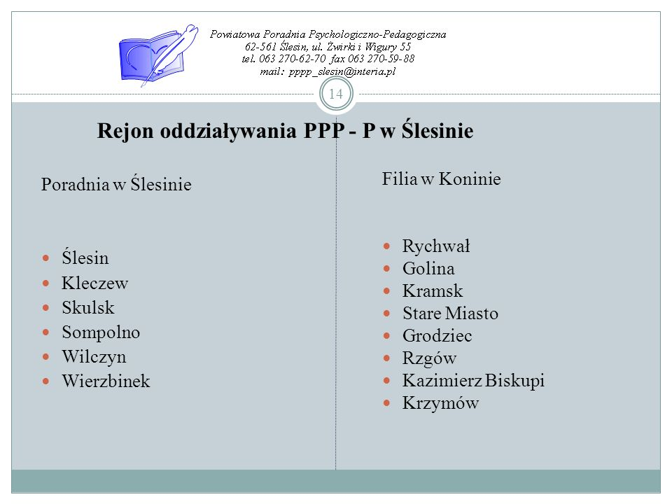 Rejon oddziaływania PPP - P w Ślesinie