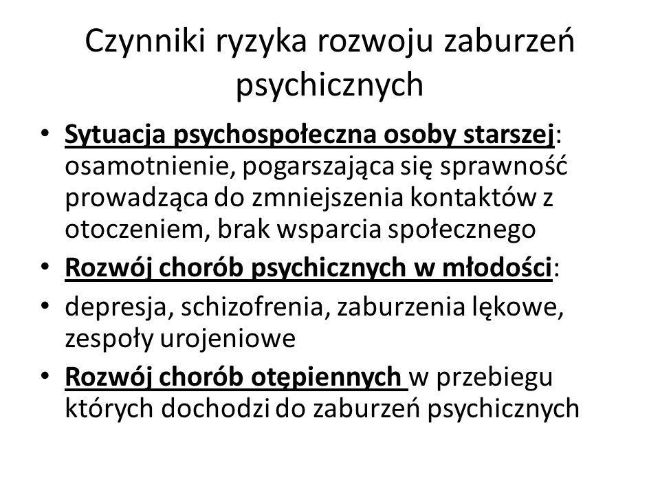 Czynniki ryzyka rozwoju zaburzeń psychicznych