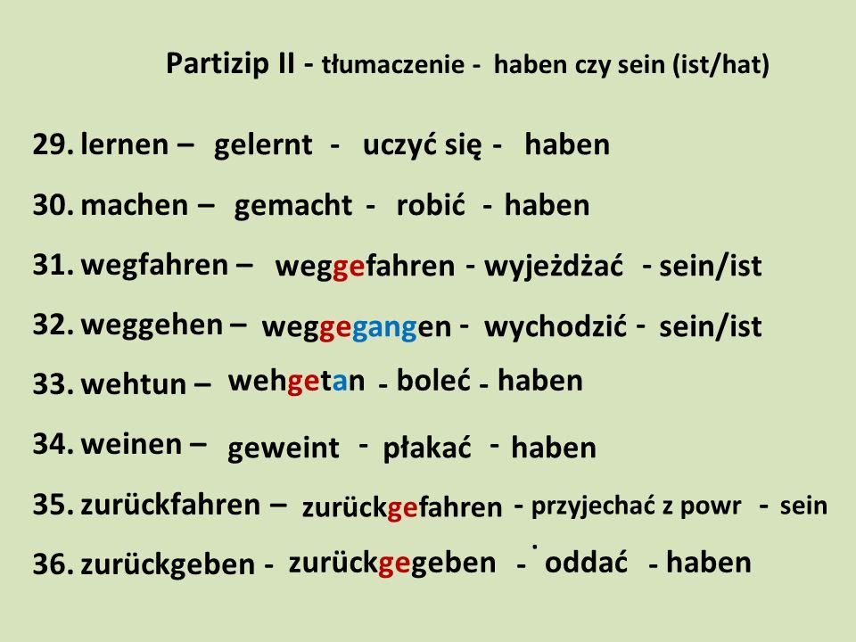 Partizip II - tłumaczenie - haben czy sein (ist/hat)