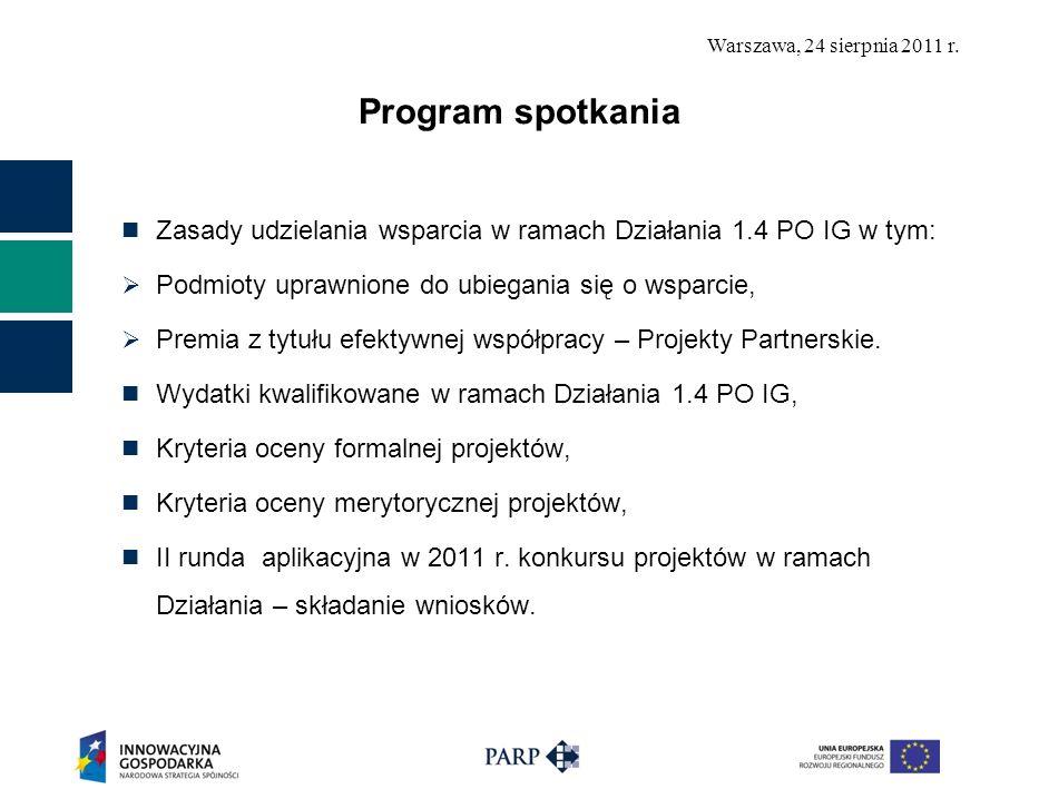 Program spotkania Zasady udzielania wsparcia w ramach Działania 1.4 PO IG w tym: Podmioty uprawnione do ubiegania się o wsparcie,