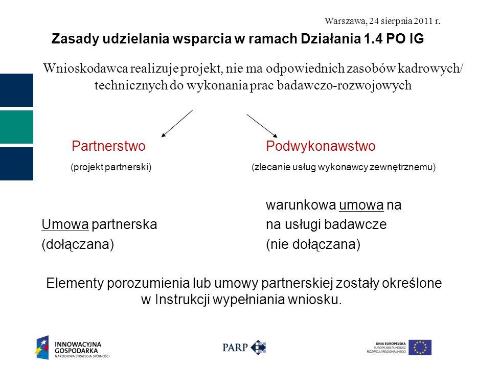 Zasady udzielania wsparcia w ramach Działania 1.4 PO IG