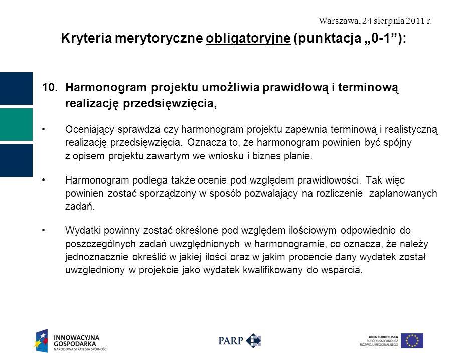 "Kryteria merytoryczne obligatoryjne (punktacja ""0-1 ):"