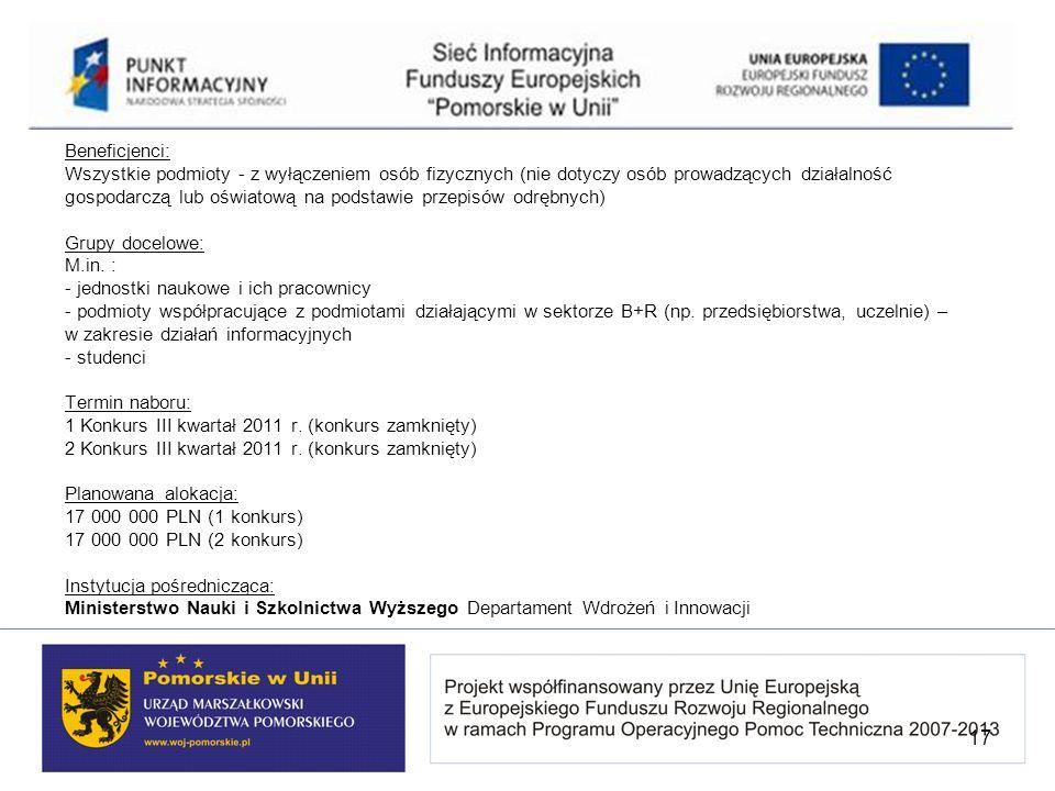 Beneficjenci: Wszystkie podmioty - z wyłączeniem osób fizycznych (nie dotyczy osób prowadzących działalność gospodarczą lub oświatową na podstawie przepisów odrębnych) Grupy docelowe: M.in. : - jednostki naukowe i ich pracownicy - podmioty współpracujące z podmiotami działającymi w sektorze B+R (np. przedsiębiorstwa, uczelnie) – w zakresie działań informacyjnych - studenci Termin naboru: 1 Konkurs III kwartał 2011 r. (konkurs zamknięty) 2 Konkurs III kwartał 2011 r. (konkurs zamknięty) Planowana alokacja: 17 000 000 PLN (1 konkurs) 17 000 000 PLN (2 konkurs) Instytucja pośrednicząca: Ministerstwo Nauki i Szkolnictwa Wyższego Departament Wdrożeń i Innowacji
