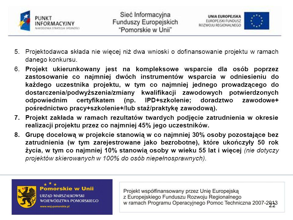 5. Projektodawca składa nie więcej niż dwa wnioski o dofinansowanie projektu w ramach danego konkursu.