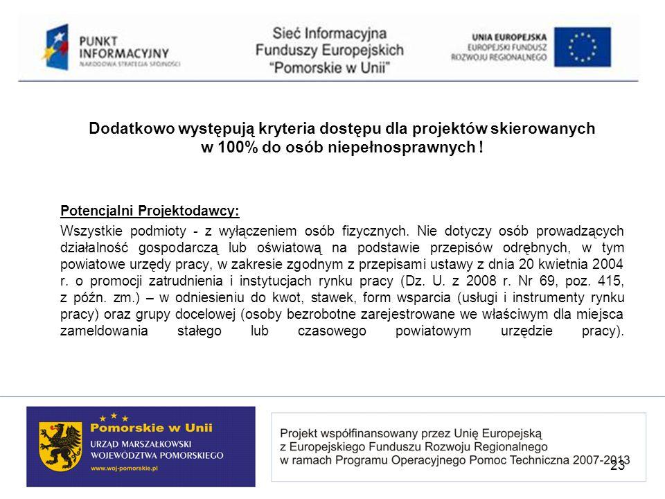 Dodatkowo występują kryteria dostępu dla projektów skierowanych w 100% do osób niepełnosprawnych !