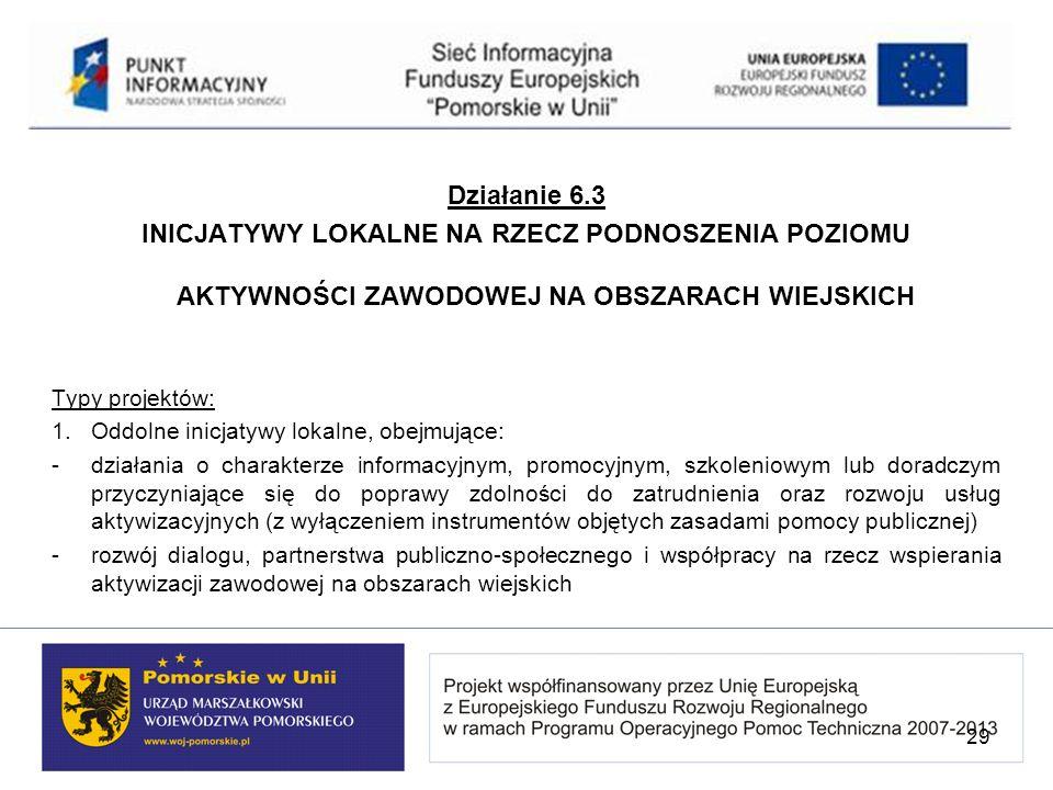 Działanie 6.3 INICJATYWY LOKALNE NA RZECZ PODNOSZENIA POZIOMU AKTYWNOŚCI ZAWODOWEJ NA OBSZARACH WIEJSKICH.