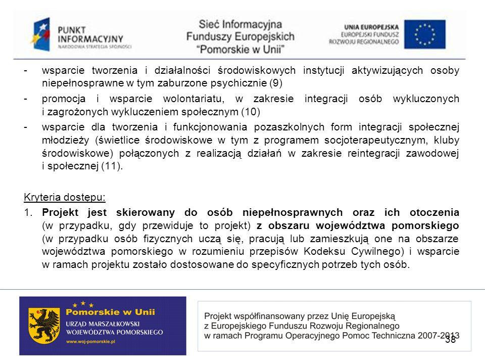 - wsparcie tworzenia i działalności środowiskowych instytucji aktywizujących osoby niepełnosprawne w tym zaburzone psychicznie (9)