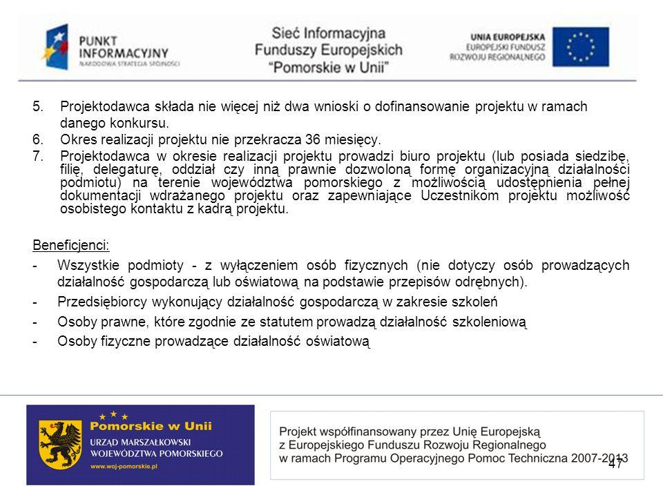 5. Projektodawca składa nie więcej niż dwa wnioski o dofinansowanie projektu w ramach