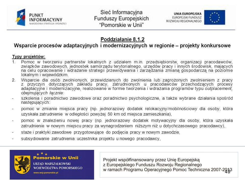 Poddziałanie 8.1.2 Wsparcie procesów adaptacyjnych i modernizacyjnych w regionie – projekty konkursowe.