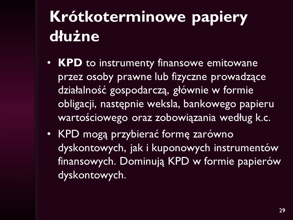Krótkoterminowe papiery dłużne