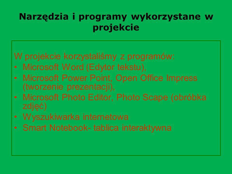 Narzędzia i programy wykorzystane w projekcie
