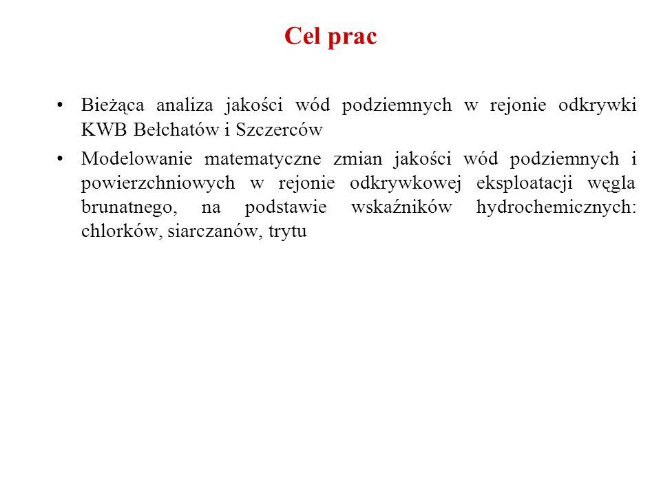 Cel prac Bieżąca analiza jakości wód podziemnych w rejonie odkrywki KWB Bełchatów i Szczerców.