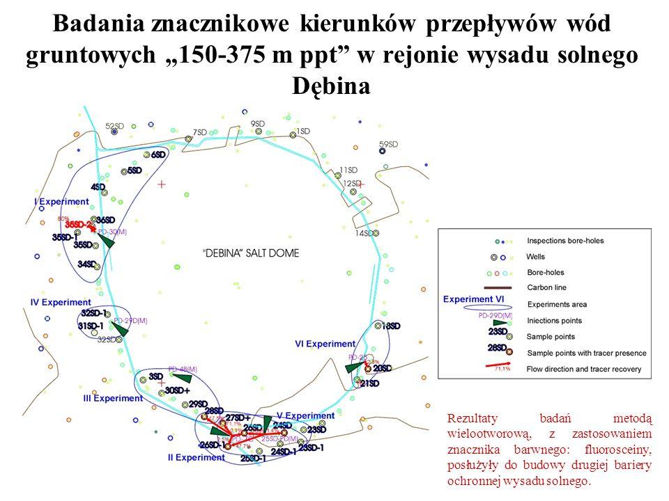 """Badania znacznikowe kierunków przepływów wód gruntowych """"150-375 m ppt w rejonie wysadu solnego Dębina"""