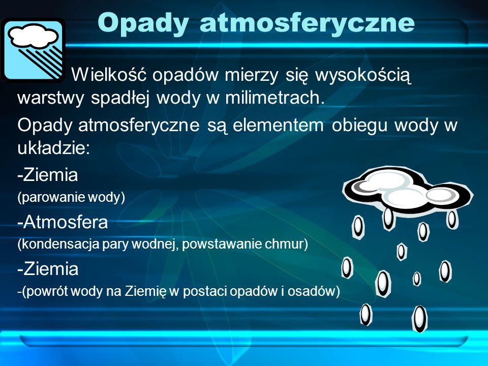 Opady atmosferyczne Wielkość opadów mierzy się wysokością warstwy spadłej wody w milimetrach.
