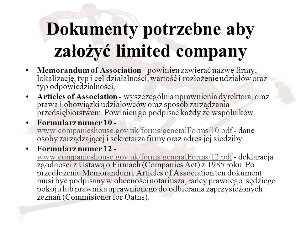 Dokumenty potrzebne aby założyć limited company