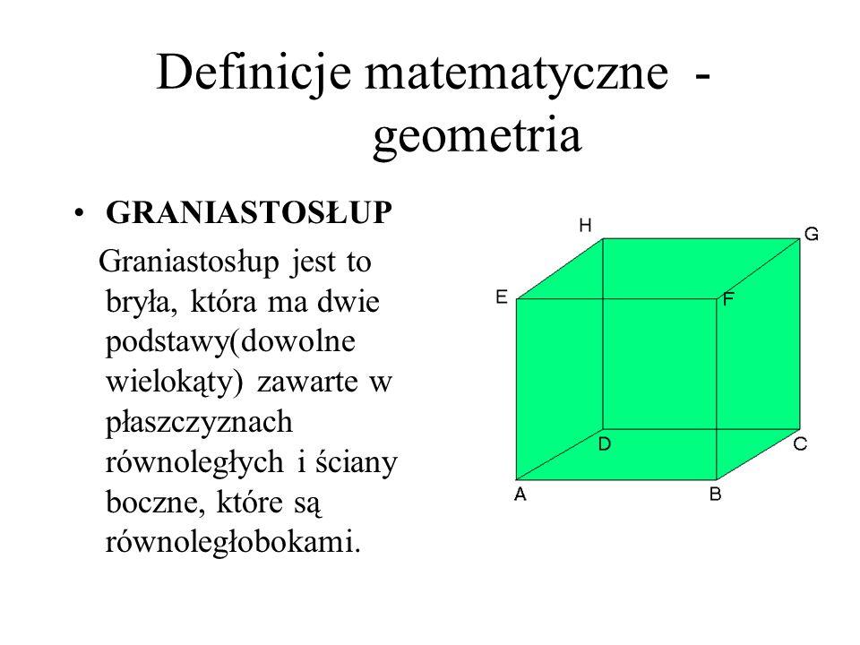 Definicje matematyczne - geometria