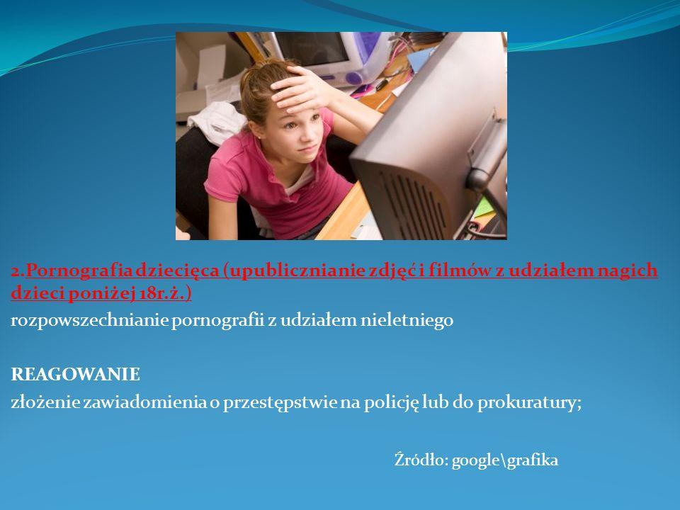 2.Pornografia dziecięca (upublicznianie zdjęć i filmów z udziałem nagich dzieci poniżej 18r.ż.)