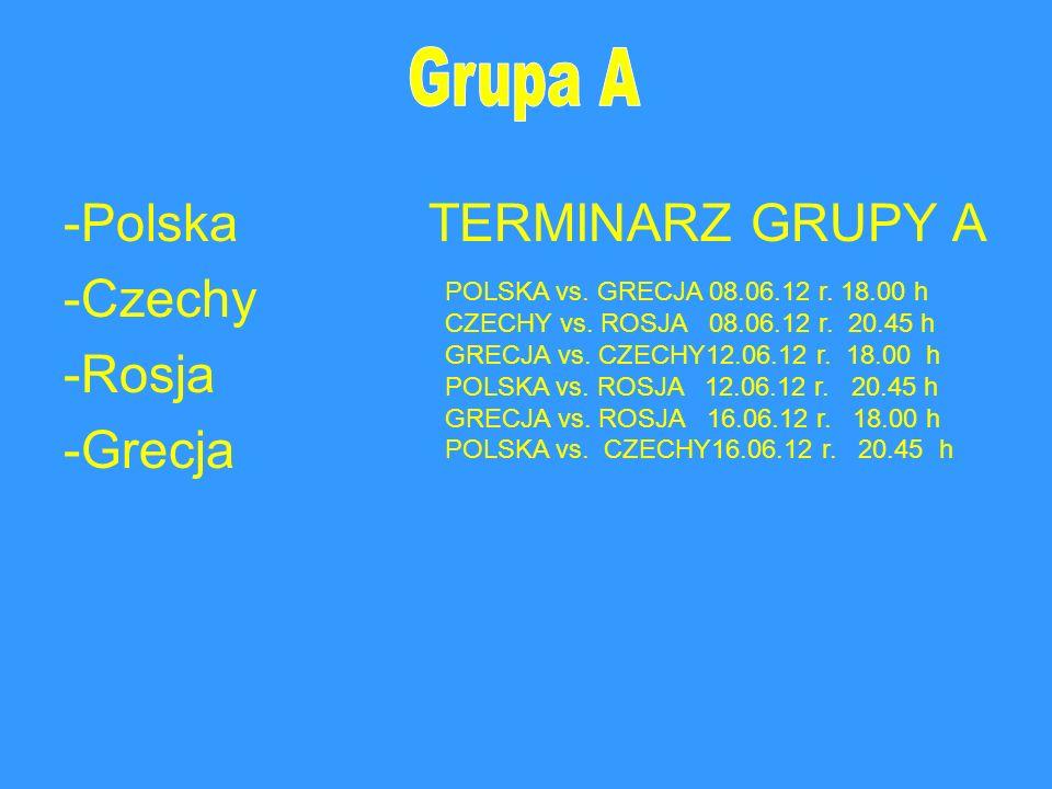 -Polska TERMINARZ GRUPY A -Czechy -Rosja -Grecja
