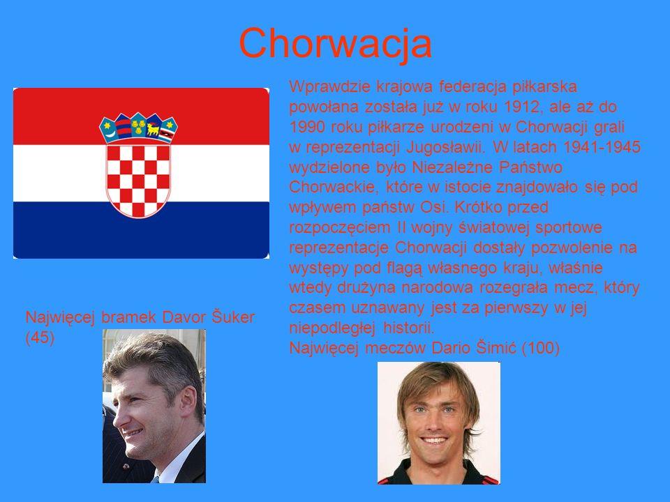 Chorwacja Wprawdzie krajowa federacja piłkarska powołana została już w roku 1912, ale aż do 1990 roku piłkarze urodzeni w Chorwacji grali.