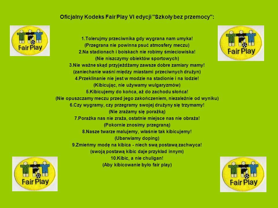 Oficjalny Kodeks Fair Play VI edycji Szkoły bez przemocy :