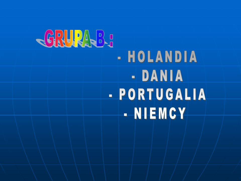 GRUPA B : - HOLANDIA - DANIA - PORTUGALIA - NIEMCY