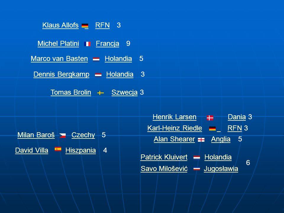 Klaus Allofs RFN. 3. Michel Platini. Francja. 9. Marco van Basten. Holandia. 5. Dennis Bergkamp.