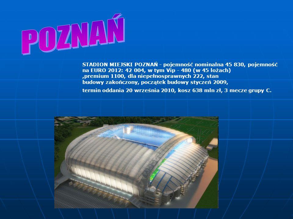 POZNAŃ STADION MIEJSKI POZNAŃ - pojemność nominalna 45 830, pojemność