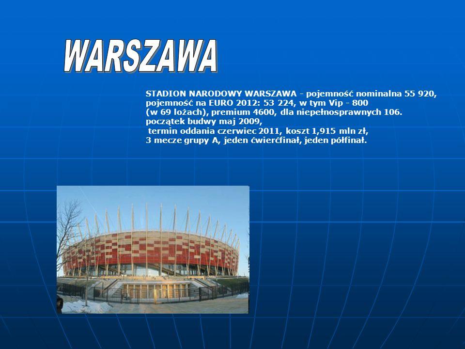WARSZAWA STADION NARODOWY WARSZAWA - pojemność nominalna 55 920,