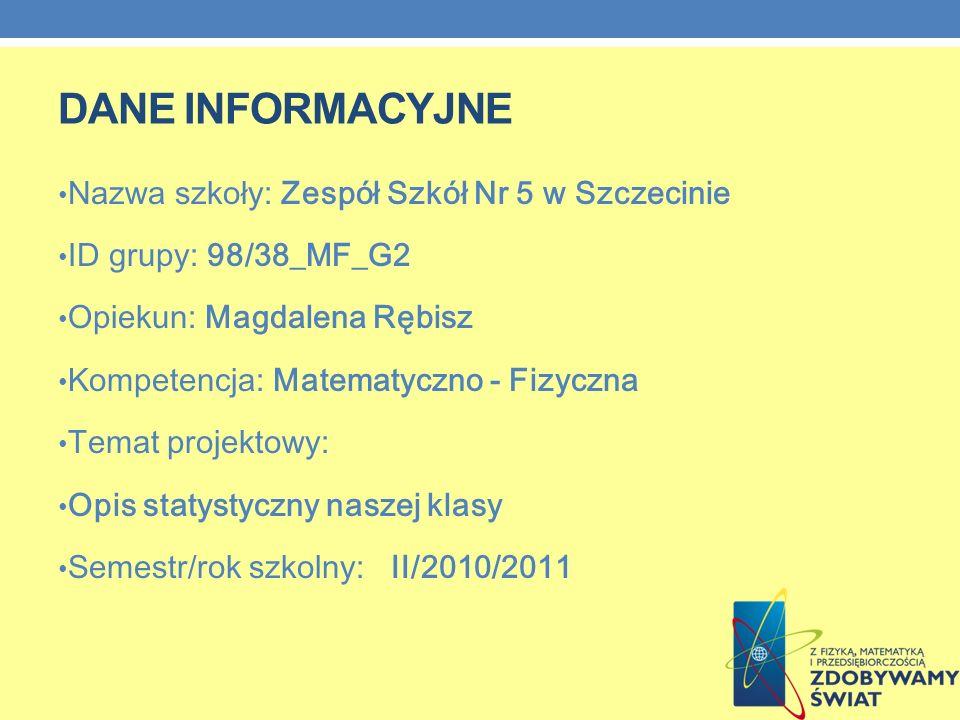 DANE INFORMACYJNE Nazwa szkoły: Zespół Szkół Nr 5 w Szczecinie