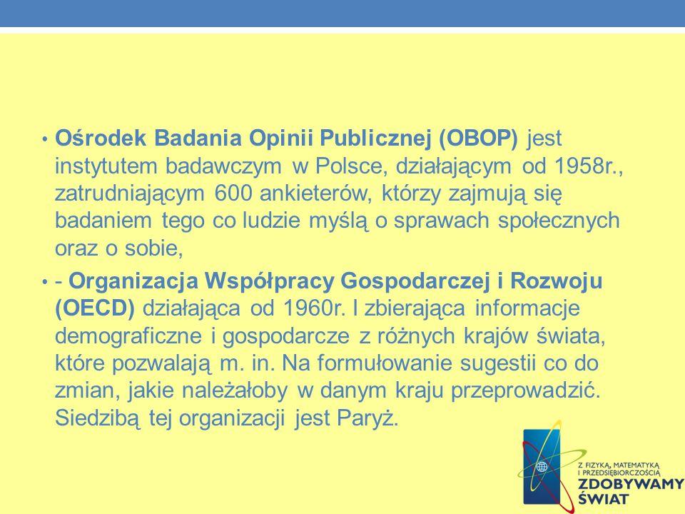 Ośrodek Badania Opinii Publicznej (OBOP) jest instytutem badawczym w Polsce, działającym od 1958r., zatrudniającym 600 ankieterów, którzy zajmują się badaniem tego co ludzie myślą o sprawach społecznych oraz o sobie,