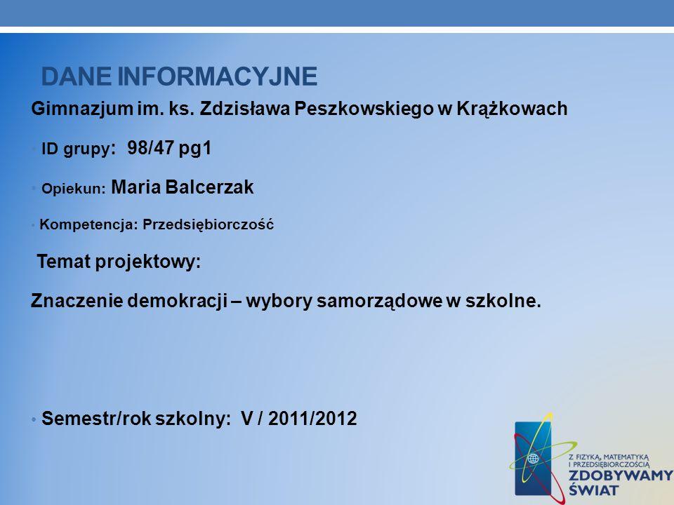 Dane INFORMACYJNE Gimnazjum im. ks. Zdzisława Peszkowskiego w Krążkowach. ID grupy: 98/47 pg1. Opiekun: Maria Balcerzak.