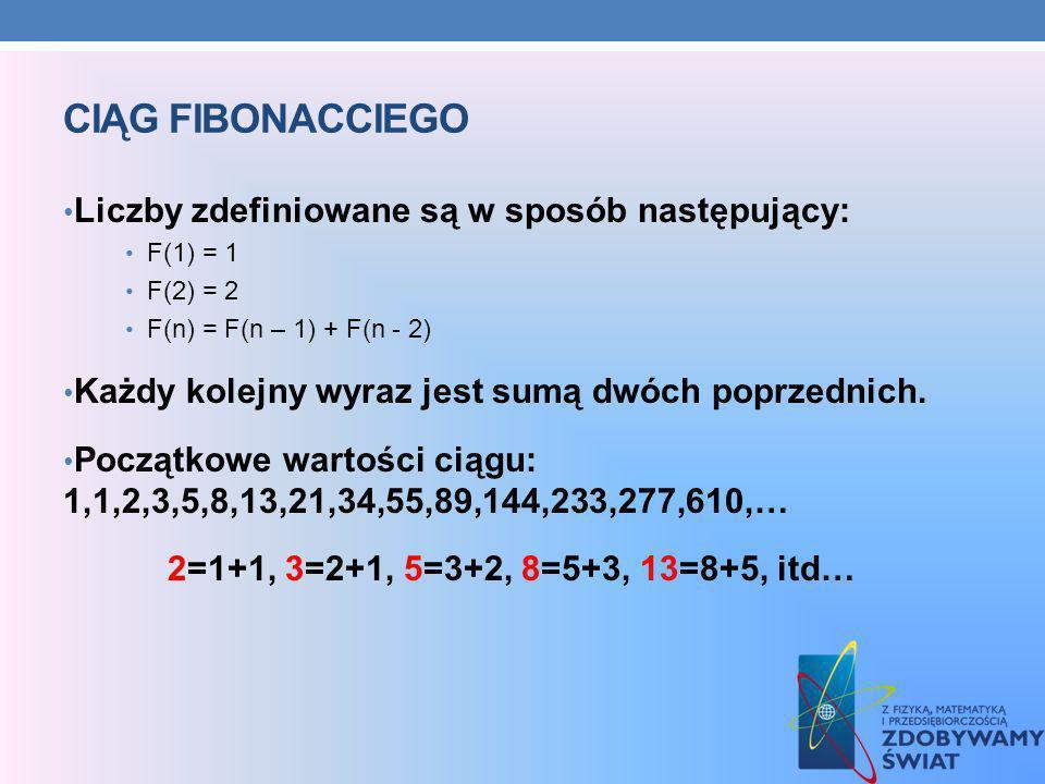 Ciąg Fibonacciego Liczby zdefiniowane są w sposób następujący: