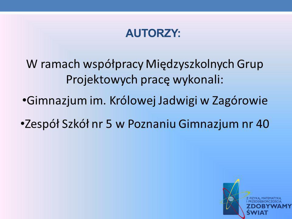 W ramach współpracy Międzyszkolnych Grup Projektowych pracę wykonali: