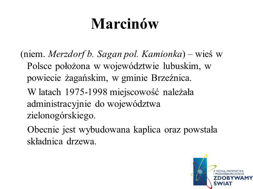 Marcinów (niem. Merzdorf b. Sagan pol. Kamionka) – wieś w Polsce położona w województwie lubuskim, w powiecie żagańskim, w gminie Brzeźnica.