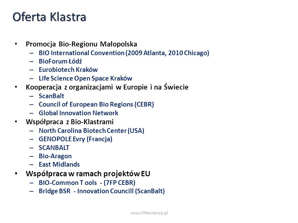 Oferta Klastra Współpraca w ramach projektów EU