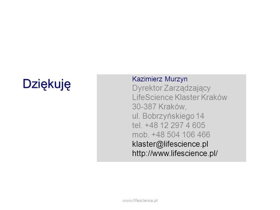 Dziękuję Dyrektor Zarządzający LifeScience Klaster Kraków