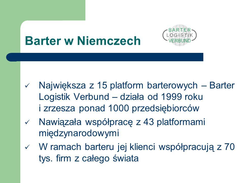 Barter w Niemczech Największa z 15 platform barterowych – Barter Logistik Verbund – działa od 1999 roku i zrzesza ponad 1000 przedsiębiorców.