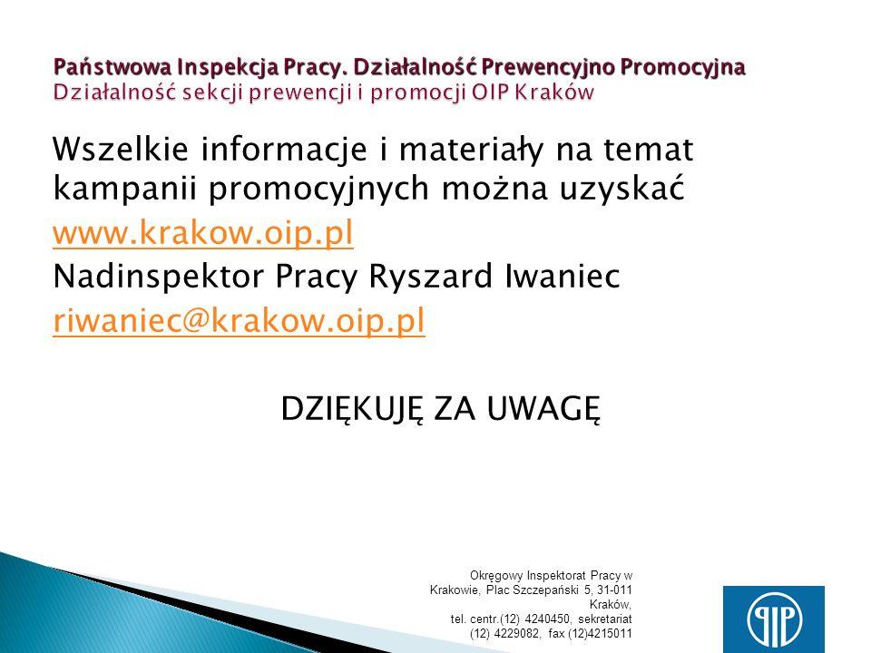 Nadinspektor Pracy Ryszard Iwaniec riwaniec@krakow.oip.pl