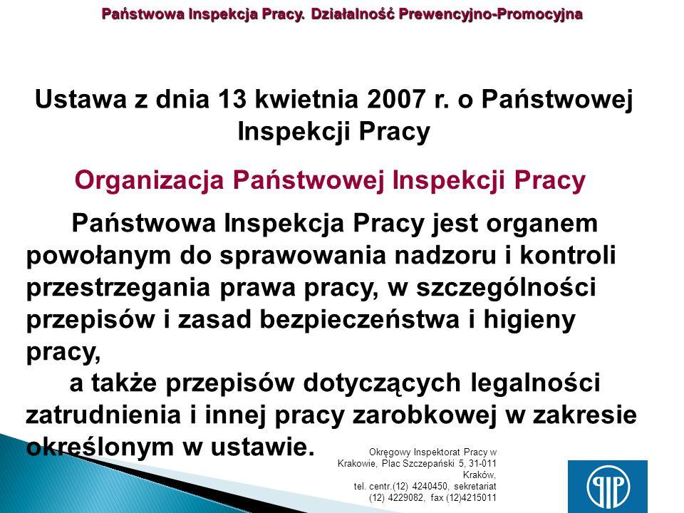 Ustawa z dnia 13 kwietnia 2007 r. o Państwowej Inspekcji Pracy