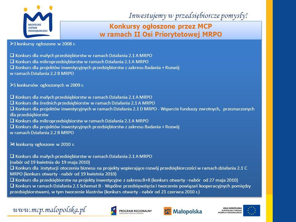 Konkursy ogłoszone przez MCP w ramach II Osi Priorytetowej MRPO
