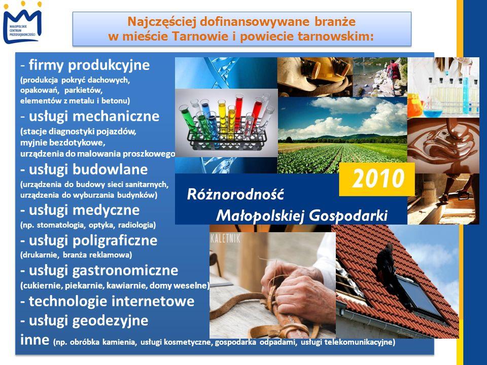 Najczęściej dofinansowywane branże w mieście Tarnowie i powiecie tarnowskim: