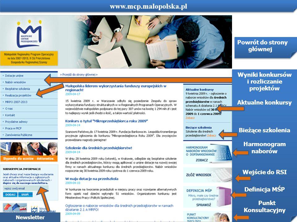 www.mcp.malopolska.pl Powrót do strony głównej