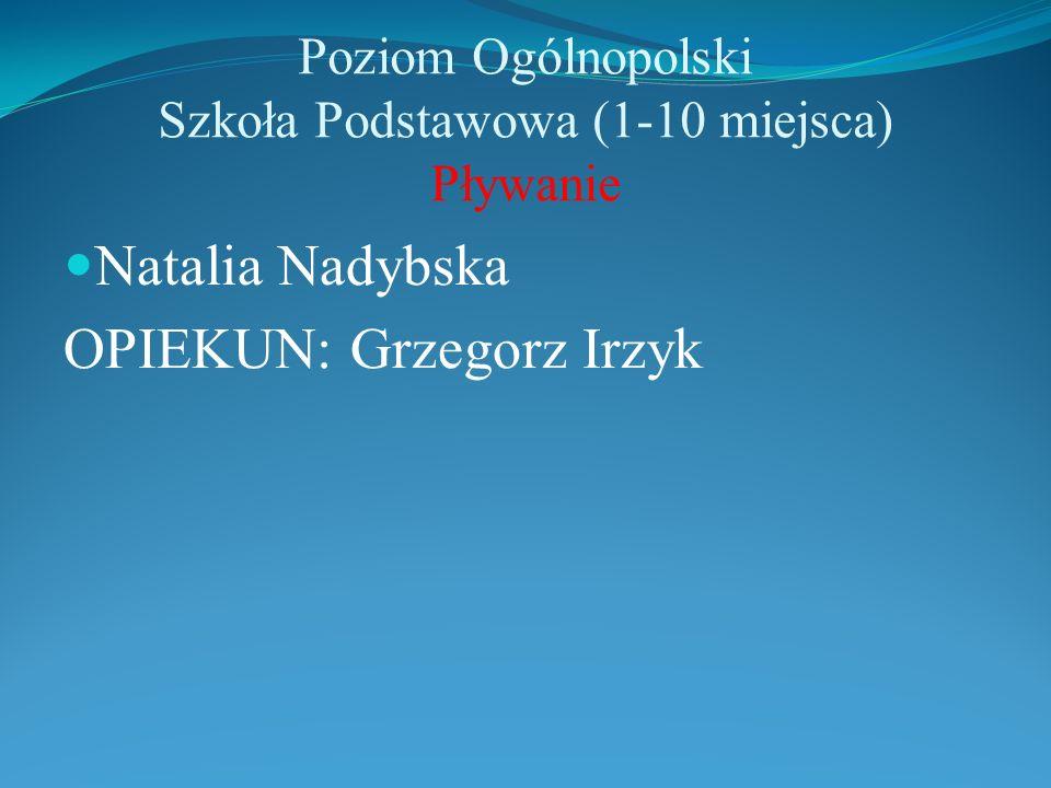 Poziom Ogólnopolski Szkoła Podstawowa (1-10 miejsca) Pływanie