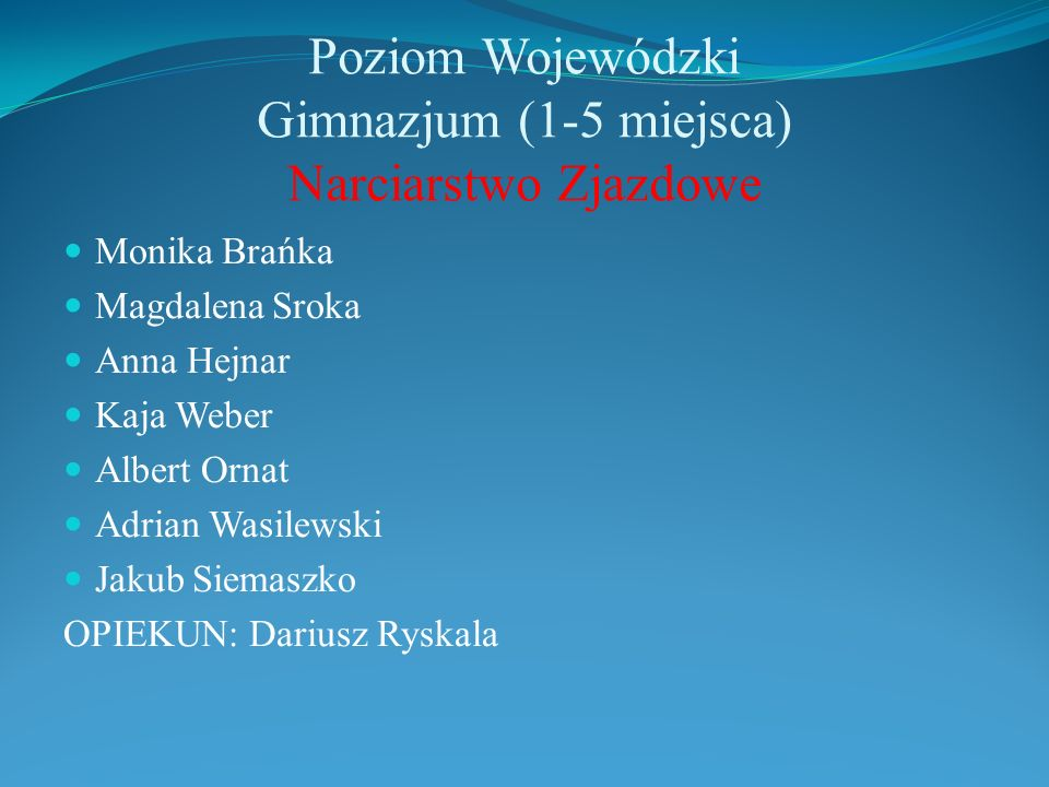 Poziom Wojewódzki Gimnazjum (1-5 miejsca) Narciarstwo Zjazdowe