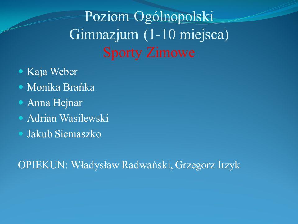 Poziom Ogólnopolski Gimnazjum (1-10 miejsca) Sporty Zimowe