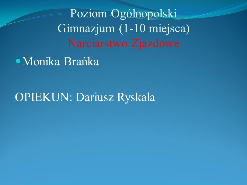 Poziom Ogólnopolski Gimnazjum (1-10 miejsca) Narciarstwo Zjazdowe