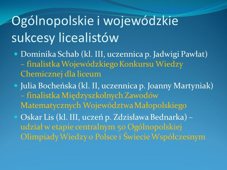 Ogólnopolskie i wojewódzkie sukcesy licealistów