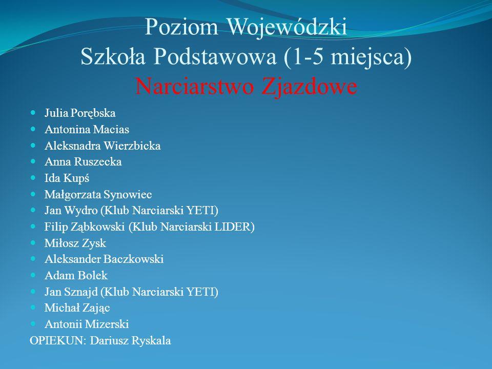 Poziom Wojewódzki Szkoła Podstawowa (1-5 miejsca) Narciarstwo Zjazdowe