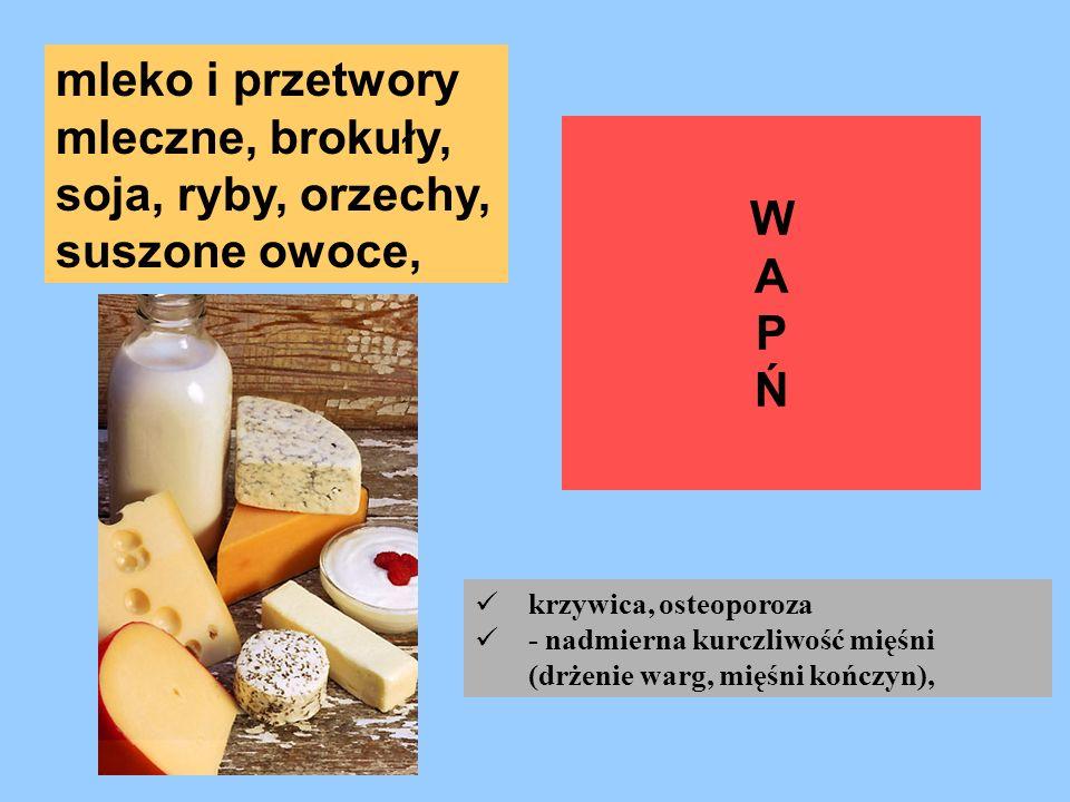 mleko i przetwory mleczne, brokuły, soja, ryby, orzechy,