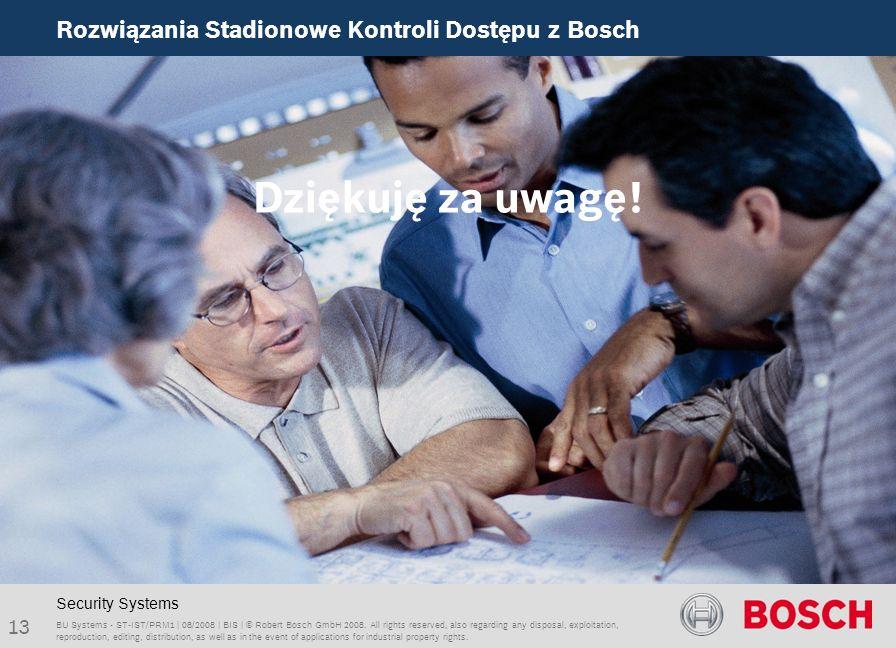 Dziękuję za uwagę! Rozwiązania Stadionowe Kontroli Dostępu z Bosch